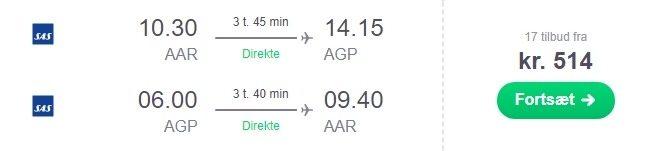 flybilletter malaga direkte